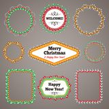Christmas Beads Garlands Frames with a Copy Space Royalty Free Stock Photography