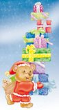 Christmas bear. Bear with Christmas gift packages Royalty Free Stock Image