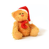 Christmas Bear. Studio isolated image of cute festive teddy bear wearing a christmas bonnet and scarf with soft shadows with copy space stock photography
