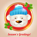 Christmas bear card Stock Image