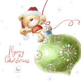 Cute teddy bear with the big Christmas tree toy  i Royalty Free Stock Photography