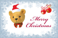 Christmas bear and decorations Stock Image