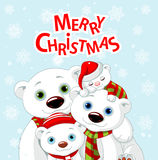 Christmas bear family greeting card Royalty Free Stock Image