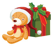 Christmas bear and gift box. Vector illustration Royalty Free Stock Images
