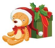 Christmas bear and gift box Royalty Free Stock Images