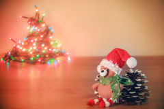 Christmas bear and heart lights Stock Photo