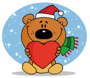 Christmas bear holding a red heart. Tender christmas bear holding a red heart and wearing a santa hat in the snow stock illustration