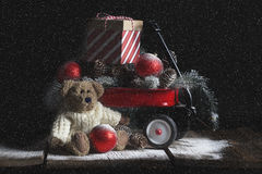 Christmas Bear Red Wagon royalty free stock images