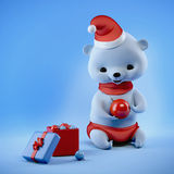 Christmas bear sitting with ball on hands, clipping path. Christmas baby bear sitting with ball on hands, clipping path royalty free illustration