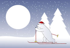 Christmas bear skier Stock Photography