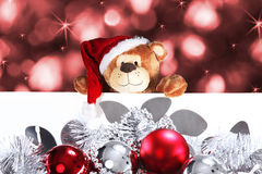 Christmas bear with white panel Stock Photo