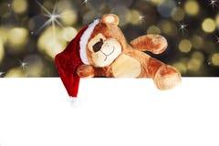 Christmas bear with white panel Stock Photos
