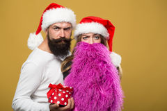 Christmas bearded couple Royalty Free Stock Photography