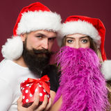 Christmas bearded couple Stock Images