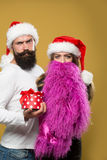 Christmas bearded couple Stock Image