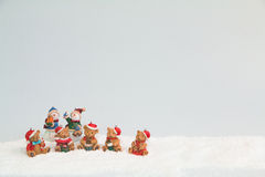 Christmas Bears and Snowmen Postcard Royalty Free Stock Photography
