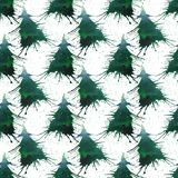 Christmas beautiful abstract graphic artistic bright holiday win. Ter green spruce tree with green spray pattern watercolor hand sketch. Perfect for textile stock image