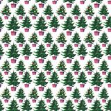 Christmas beautiful artistic wonderful bright holiday winter green spruce trees in pots pattern watercolor Royalty Free Stock Photos