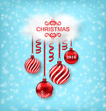 Christmas Beautiful Background with Balls. Illustration Christmas Beautiful Background with Balls, Serpentine and Cloud - Vector Royalty Free Stock Images