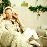 Christmas beautiful fashion woman. On vintage Provence style background Stock Image