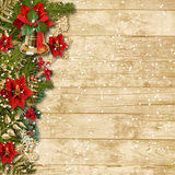 Christmas beautiful garland with poinsettia&bell o Royalty Free Stock Photography