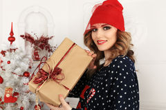 Christmas beautiful girl Stock Photos