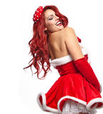 Christmas beautiful girl in pin-up costume Royalty Free Stock Photography