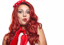 Christmas beautiful girl in pin-up costume Stock Images