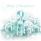 Christmas beautiful greeting card blurred background with gifts. And lights Snowfall illustration Royalty Free Stock Photography