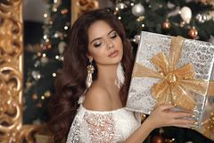 Christmas. Beautiful smiling woman with gift box. fashion interior photo of gorgeous brunette. Eye Makeup. Healthy long hair. Style. Elegant lady in white dress royalty free stock image