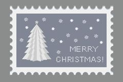 Christmas beautiful stamp with holiday symbols and elements of decoration. Creative paper .Origami. Vector. Illustration Royalty Free Stock Image