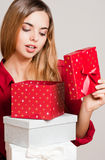 Christmas beauty with gift boxes. Stock Images