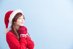 Christmas beauty girl make wish Royalty Free Stock Photo