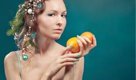Christmas beauty woman.Holiday make up . False eyelashes,art chr Stock Photography