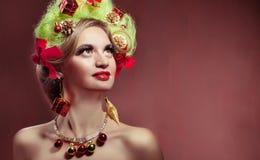 Christmas beauty woman.Holyday make up . False eyelashes,art chr Royalty Free Stock Images