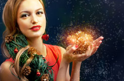 Christmas beauty woman.Holyday make up . False eyelashes,art chr. Istmas adornment. Copy space for your text Royalty Free Stock Images