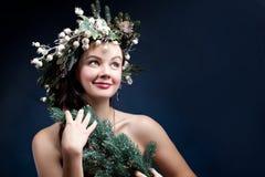 Christmas beauty woman.Holyday make up . False eyelashes,art chr Stock Photography