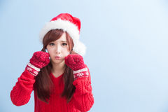 Christmas beauty woman wear shirt Royalty Free Stock Photos