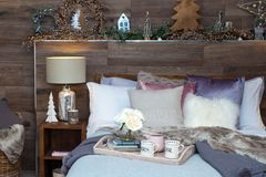 Christmas bedroom decoration Stock Photo