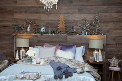 Christmas bedroom decoration Stock Image