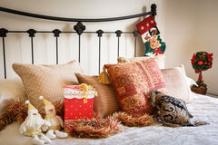 Christmas bedroom interior Stock Photography