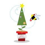 Christmas Bee. A busy bee decorating the christmas tree for christmas day stock illustration