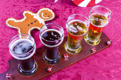 Christmas Beer Flight Royalty Free Stock Photography