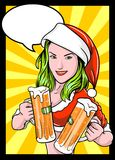 Christmas Beer Girl Comics Royalty Free Stock Images