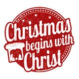Christmas Begins With Christ Sign Or Stamp Royalty Free Stock Photography