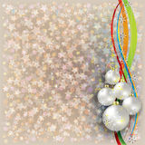 Christmas beige background with white decorations Stock Images