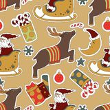 Christmas beige seamless pattern background. Royalty Free Stock Image