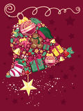 Christmas bell. Vector illustration of bell shape made of christmas ornament - greeting card Stock Photos