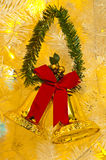 Christmas bell. Christmas gold bell background close up Royalty Free Stock Images
