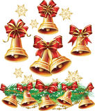 Christmas bell. Set of Christmas bells and bows Royalty Free Stock Photography